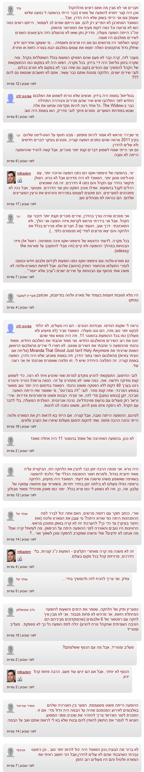 תגובות ישנות בארכיון - ההופעה של מארס וולטה בישראל