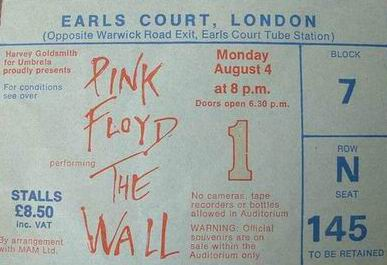 Official Ticket: The Wall live - Earls Court, London