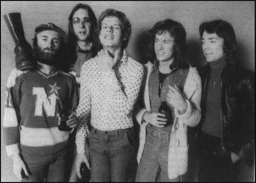 Genesis (1976 lineup) from Left to Right - Phil Collins, Mike Rutherford, Bill Bruford, Tony Banks, Steve Hackett
