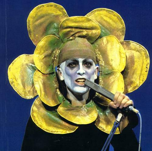 Peter Gabriel wearing the flower custome, as part of the Foxtrot tour (unknown date and place)