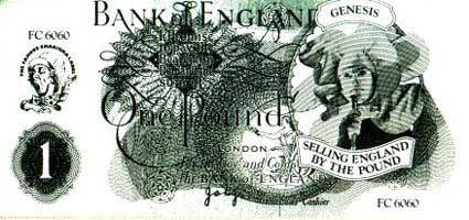 Selling England by the Pound gimmick - promo fake pound note, given away for free at the time of the album (1973-1974)